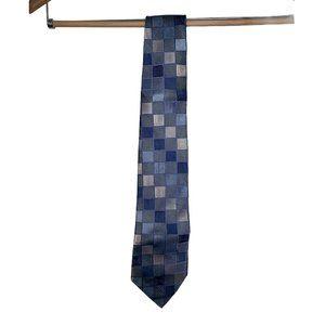 Geoffrey Beene Blue Checkered Neck Tie